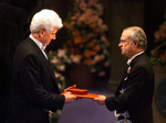 Günter Blobel receiving his Nobel Prize by The Rockefeller University