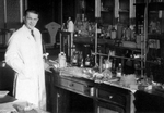 Christian de Duve in his laboratory by The Rockefeller University