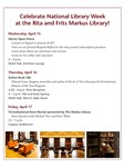 Markus Library Newsletter, April 2015 by Library Staff