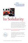 IN SOLIDARITY by The Rockefeller University